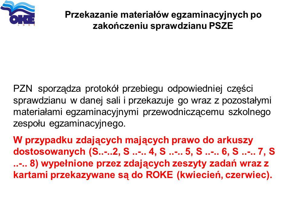 Przekazanie materiałów egzaminacyjnych po zakończeniu sprawdzianu PSZE