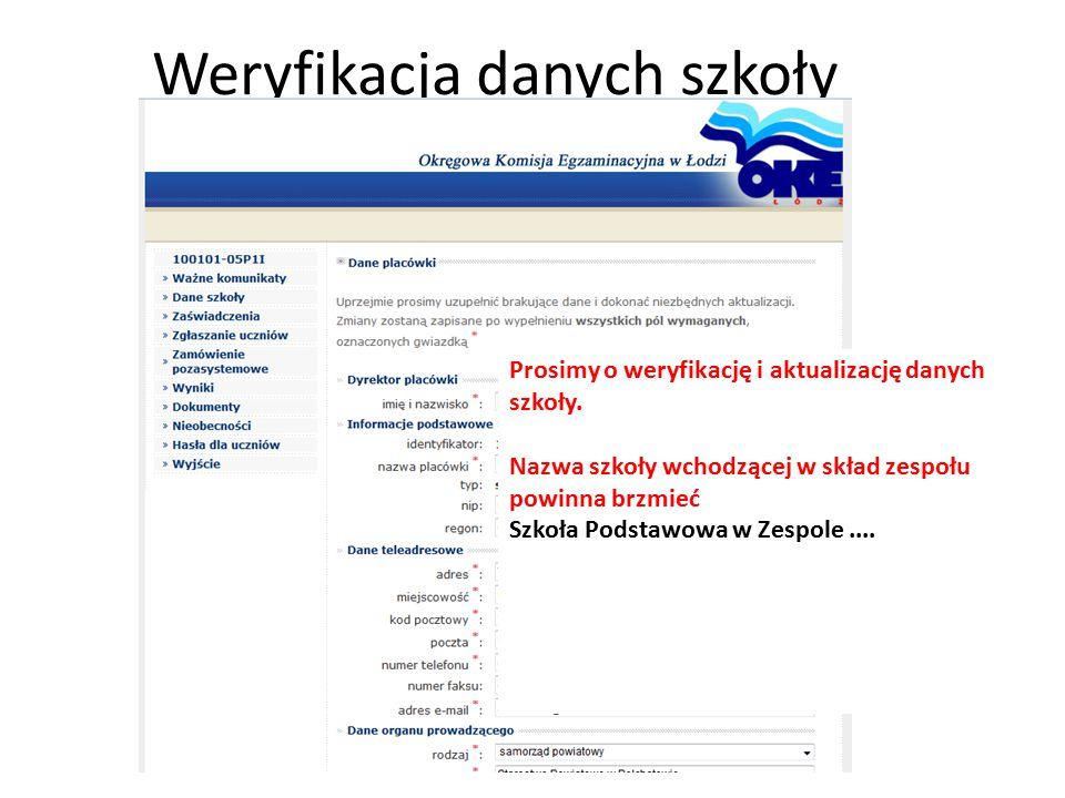 Weryfikacja danych szkoły
