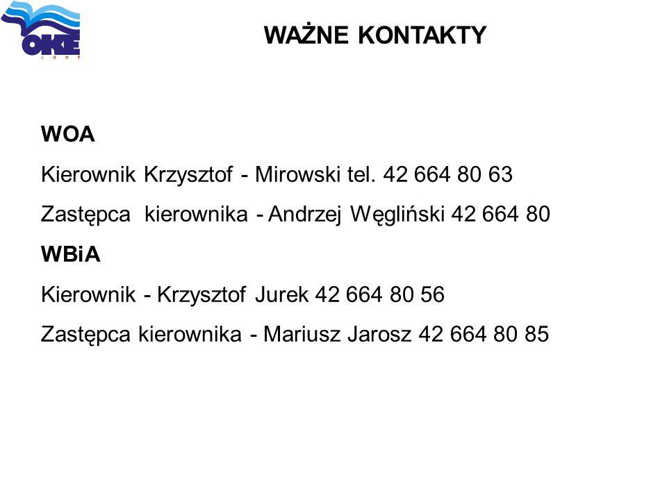 WAŻNE KONTAKTY WOA Kierownik Krzysztof - Mirowski tel. 42 664 80 63