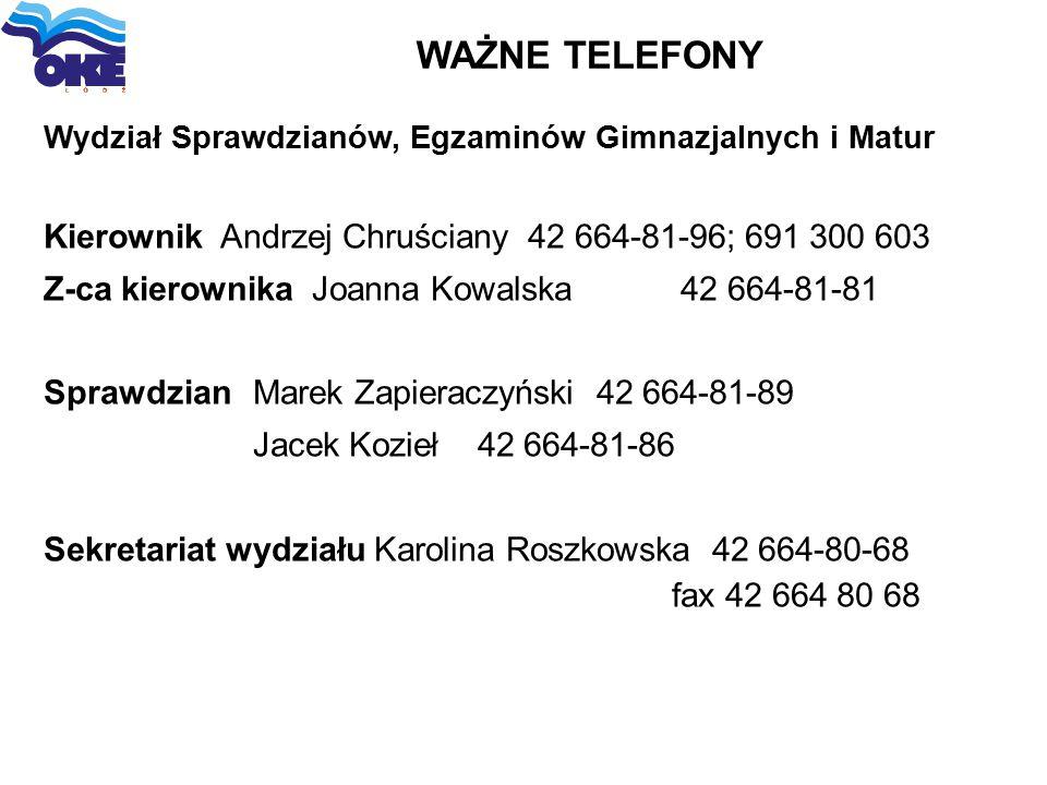 WAŻNE TELEFONY Kierownik Andrzej Chruściany 42 664-81-96; 691 300 603