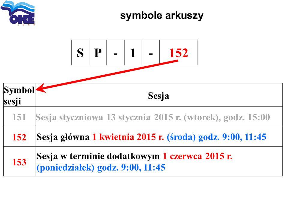 S P - 1 152 symbole arkuszy Symbol sesji Sesja 151