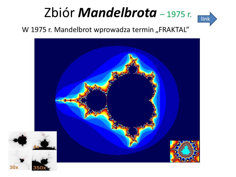 "Zbiór Mandelbrota – 1975 r. link W 1975 r. Mandelbrot wprowadza termin ""FRAKTAL"