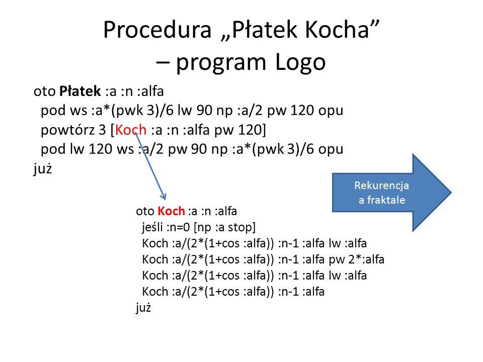 """Procedura """"Płatek Kocha – program Logo"""