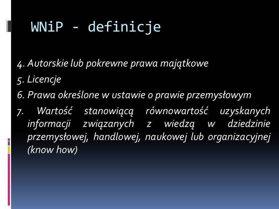 WNiP - definicje 4. Autorskie lub pokrewne prawa majątkowe 5. Licencje