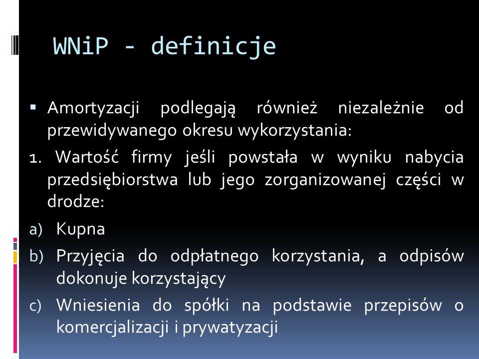 WNiP - definicje Amortyzacji podlegają również niezależnie od przewidywanego okresu wykorzystania: