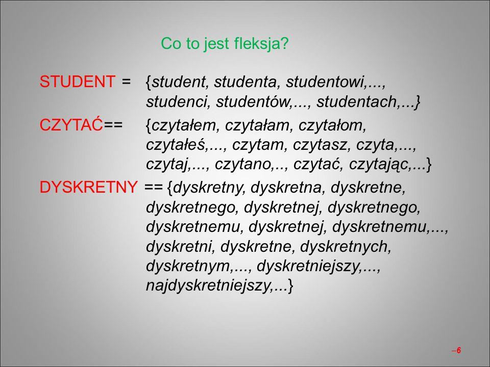 Co to jest fleksja STUDENT = {student, studenta, studentowi,..., studenci, studentów,..., studentach,...}