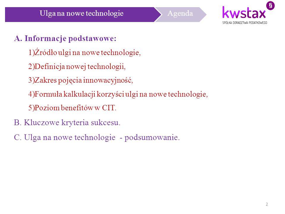 Ulga na nowe technologie