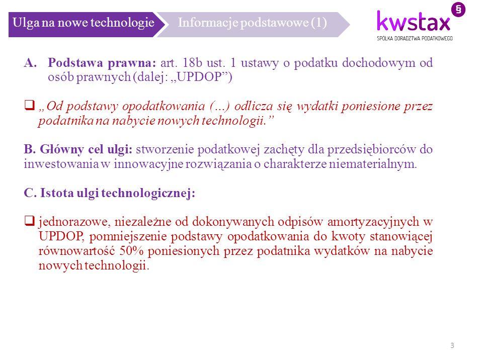 Ulga na nowe technologie Informacje podstawowe (1)