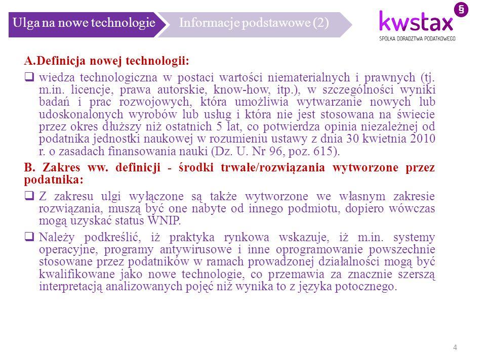Ulga na nowe technologie Informacje podstawowe (2)
