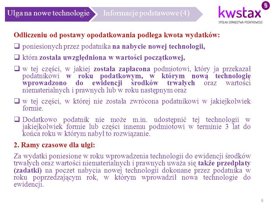 Ulga na nowe technologie Informacje podstawowe (4)