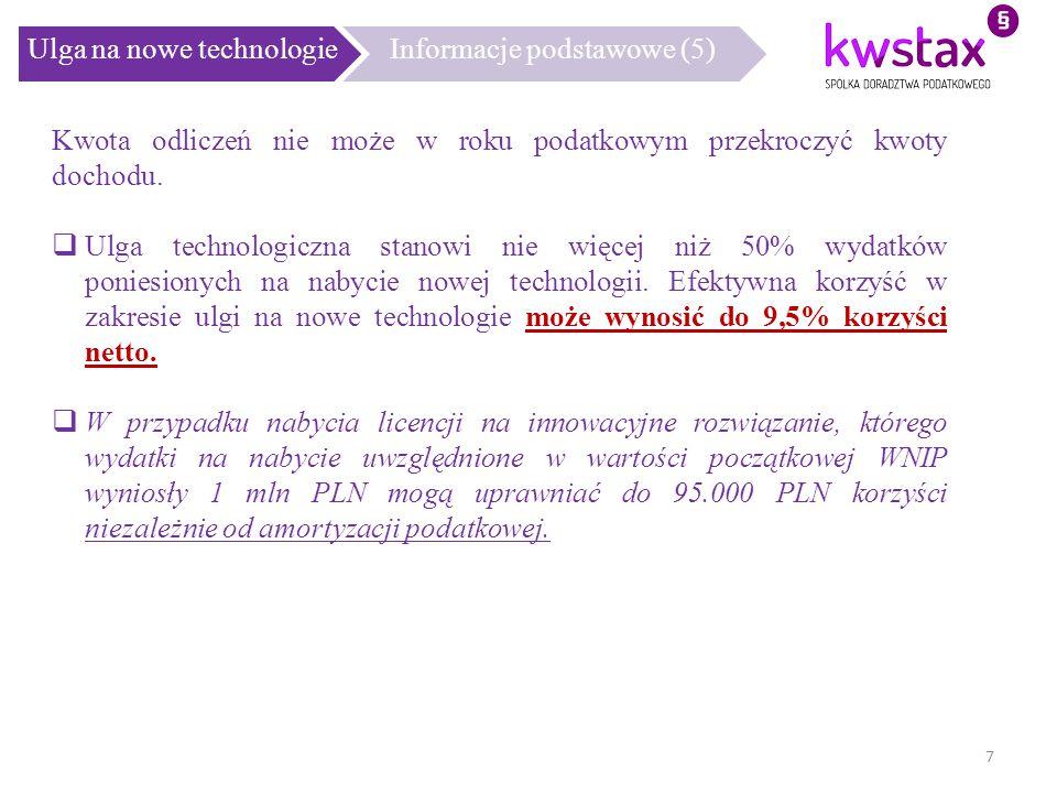 Ulga na nowe technologie Informacje podstawowe (5)