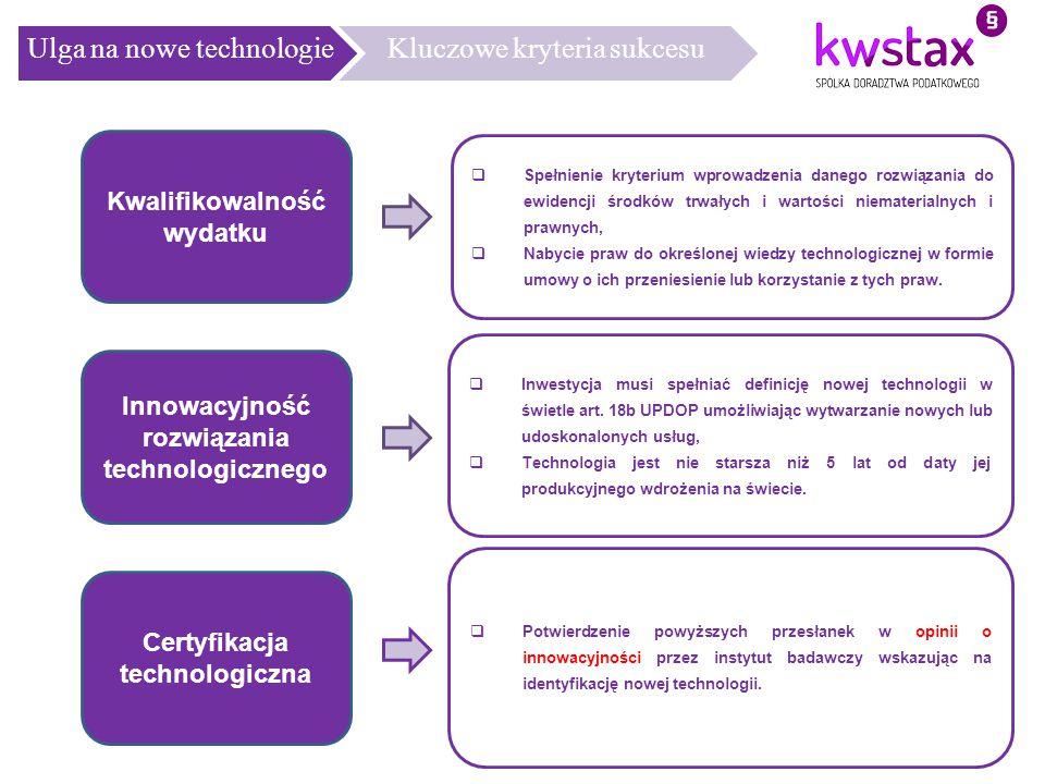 Ulga na nowe technologie Kluczowe kryteria sukcesu