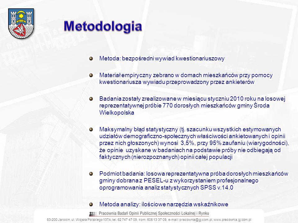 Metodologia Metoda: bezpośredni wywiad kwestionariuszowy