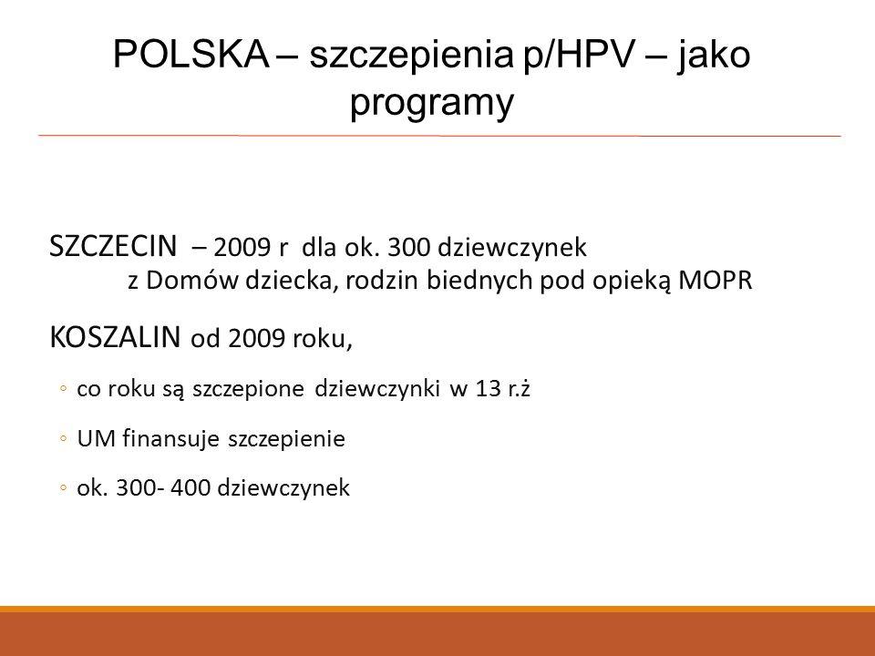 POLSKA – szczepienia p/HPV – jako programy