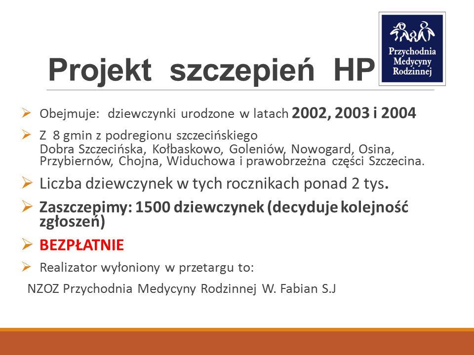 Projekt szczepień HPV Obejmuje: dziewczynki urodzone w latach 2002, 2003 i 2004. Z 8 gmin z podregionu szczecińskiego.