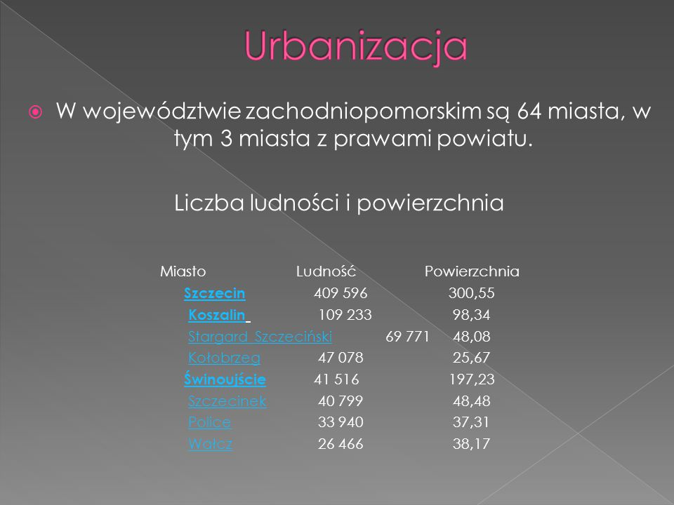 Urbanizacja W województwie zachodniopomorskim są 64 miasta, w tym 3 miasta z prawami powiatu. Liczba ludności i powierzchnia.