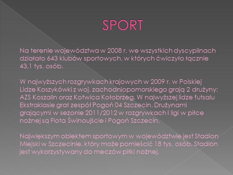 SPORT Na terenie województwa w 2008 r. we wszystkich dyscyplinach działało 643 klubów sportowych, w których ćwiczyło łącznie 43,1 tys. osób.