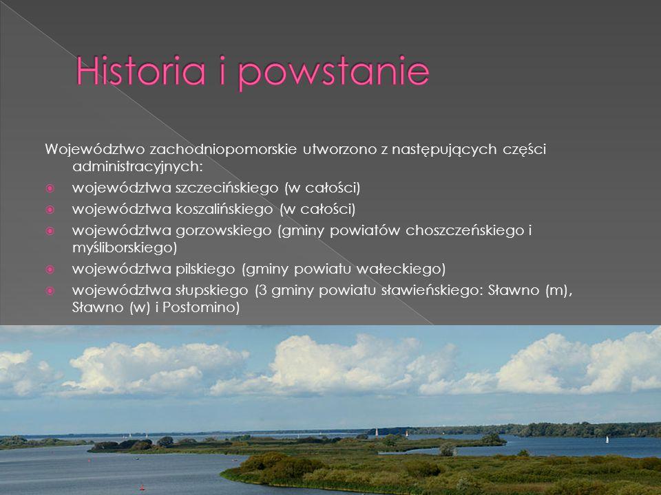 Historia i powstanie Województwo zachodniopomorskie utworzono z następujących części administracyjnych: