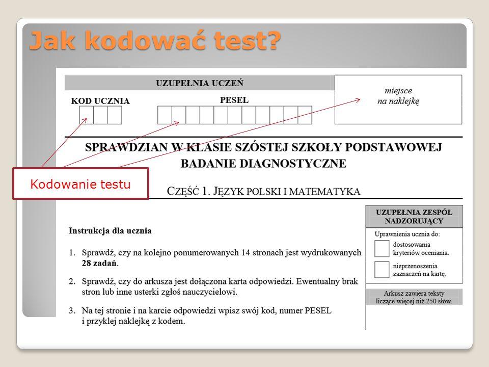 Jak kodować test Kodowanie testu