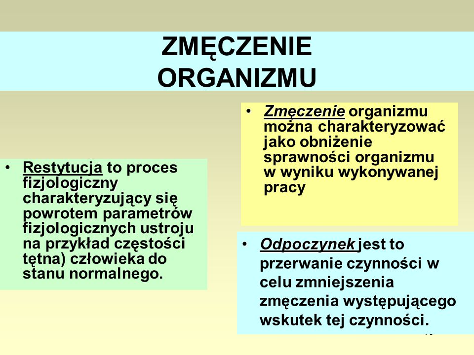 ZMĘCZENIE ORGANIZMU Zmęczenie organizmu można charakteryzować jako obniżenie sprawności organizmu w wyniku wykonywanej pracy.