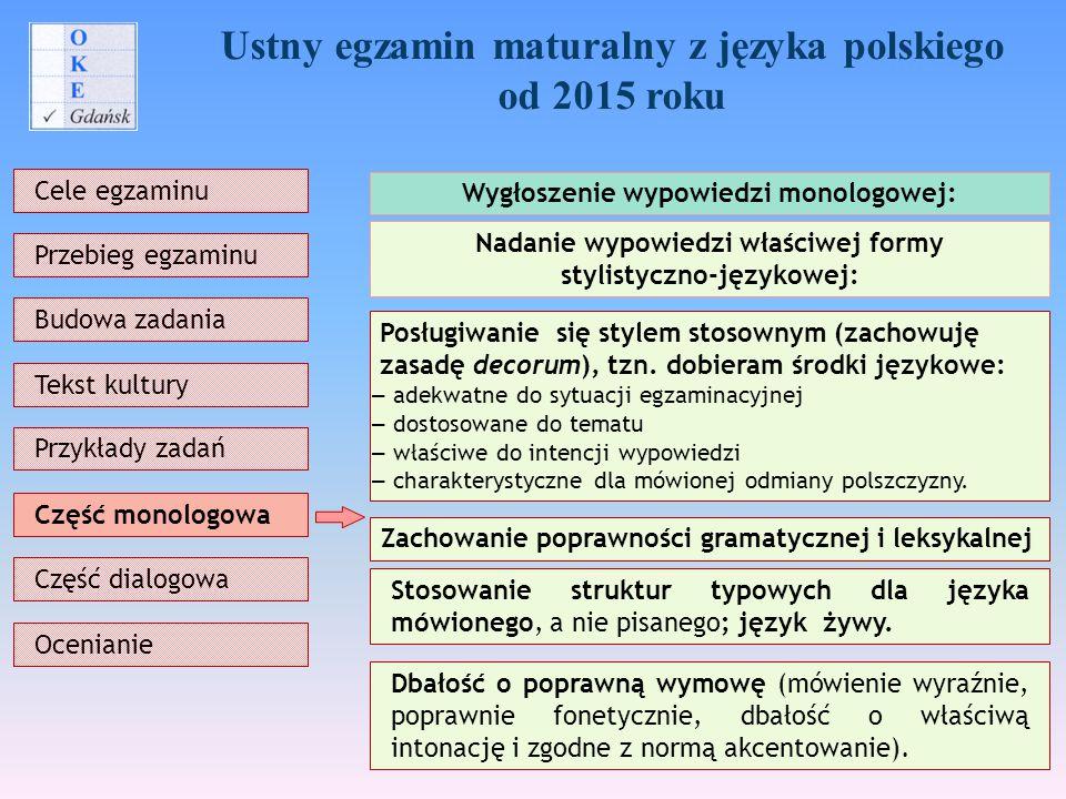 Ustny egzamin maturalny z języka polskiego od 2015 roku