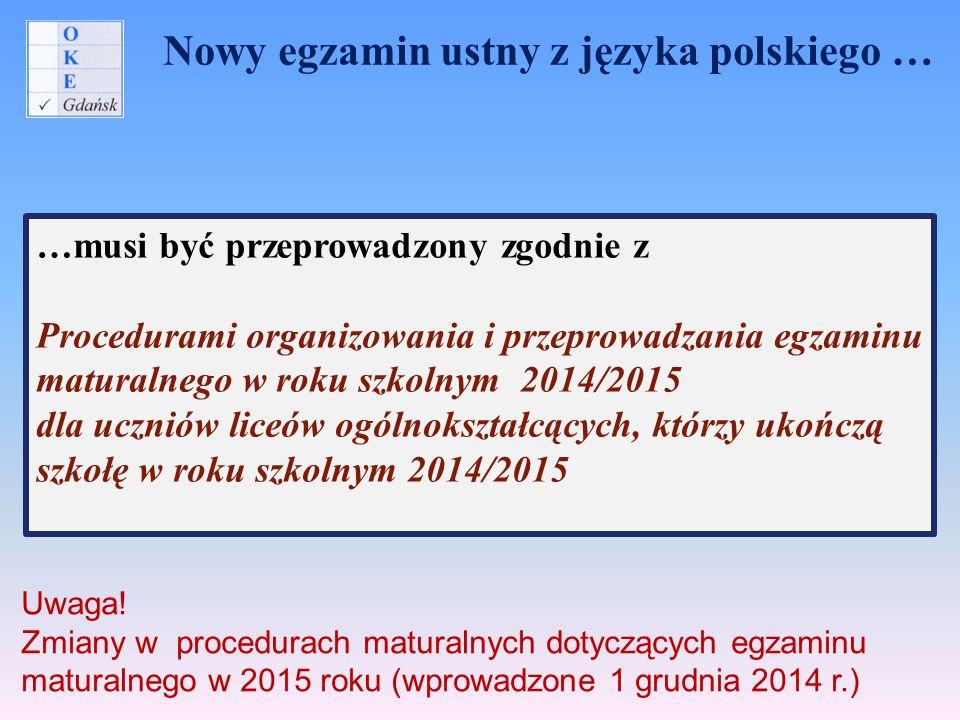 Nowy egzamin ustny z języka polskiego …