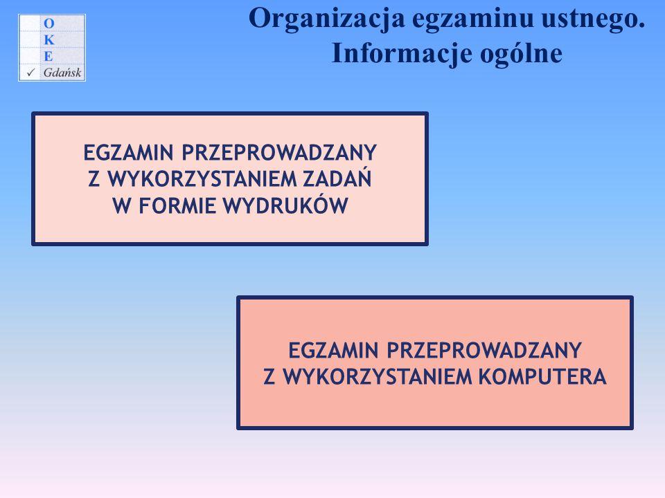 Organizacja egzaminu ustnego. Informacje ogólne