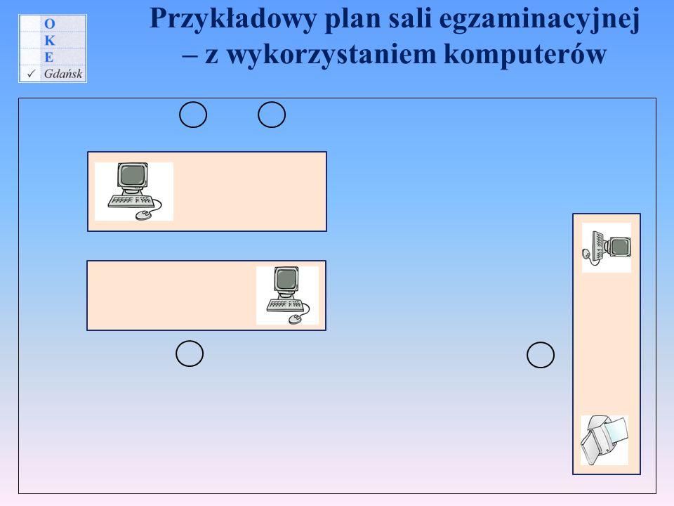 Przykładowy plan sali egzaminacyjnej – z wykorzystaniem komputerów