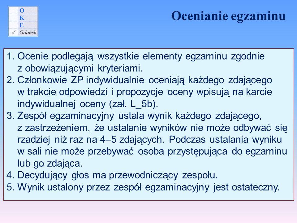 Ocenianie egzaminu 1. Ocenie podlegają wszystkie elementy egzaminu zgodnie. z obowiązującymi kryteriami.