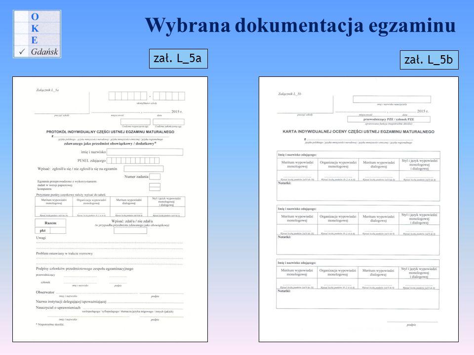 Wybrana dokumentacja egzaminu