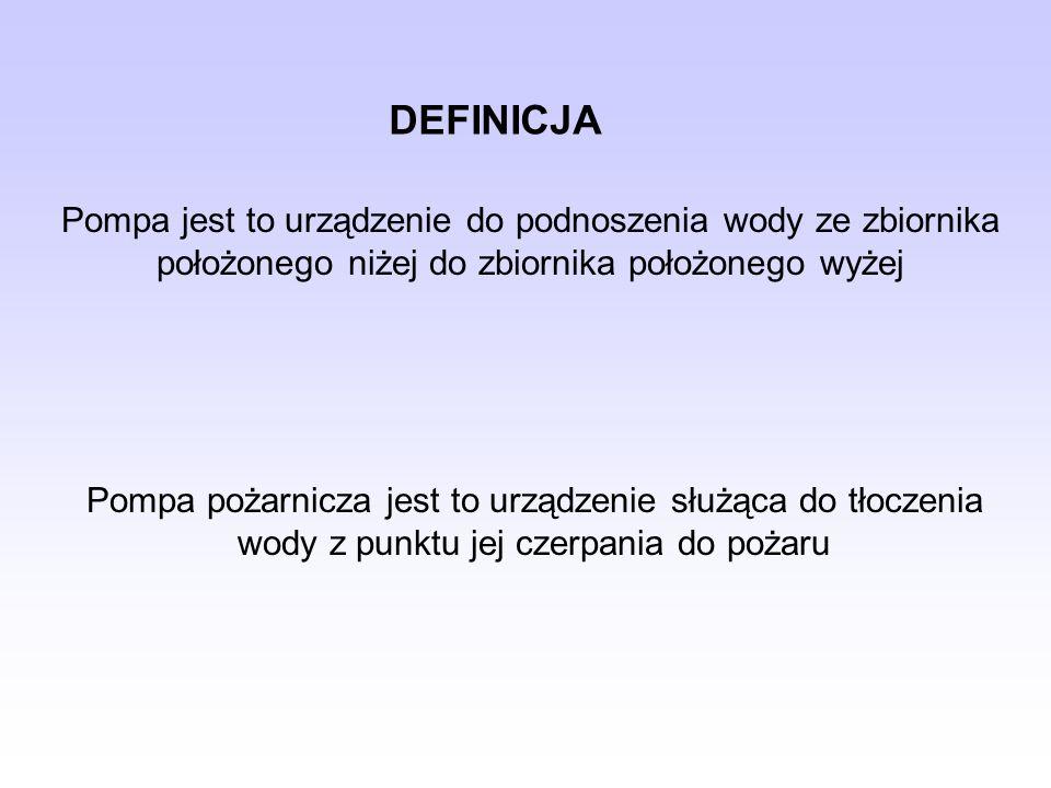 DEFINICJA Pompa jest to urządzenie do podnoszenia wody ze zbiornika położonego niżej do zbiornika położonego wyżej.