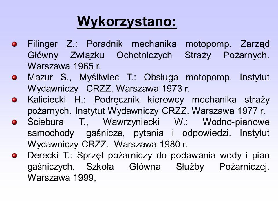 Wykorzystano: Filinger Z.: Poradnik mechanika motopomp. Zarząd Główny Związku Ochotniczych Straży Pożarnych. Warszawa 1965 r.