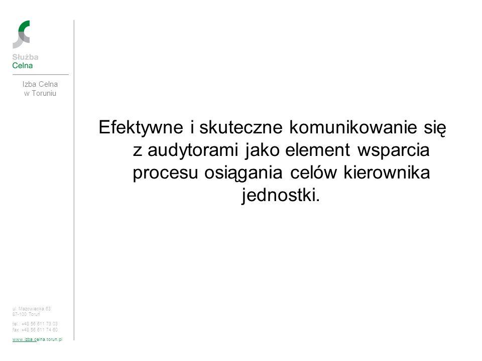 Izba Celna w Toruniu Efektywne i skuteczne komunikowanie się z audytorami jako element wsparcia procesu osiągania celów kierownika jednostki.