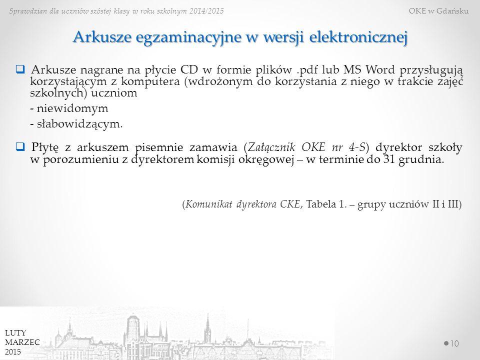 Arkusze egzaminacyjne w wersji elektronicznej