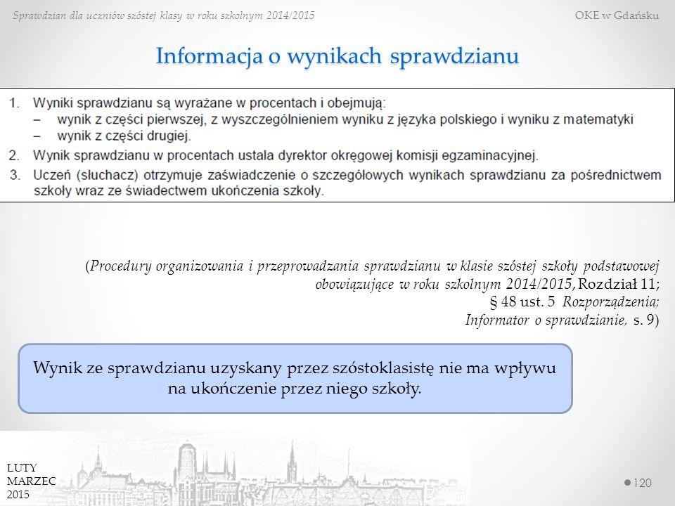 Informacja o wynikach sprawdzianu