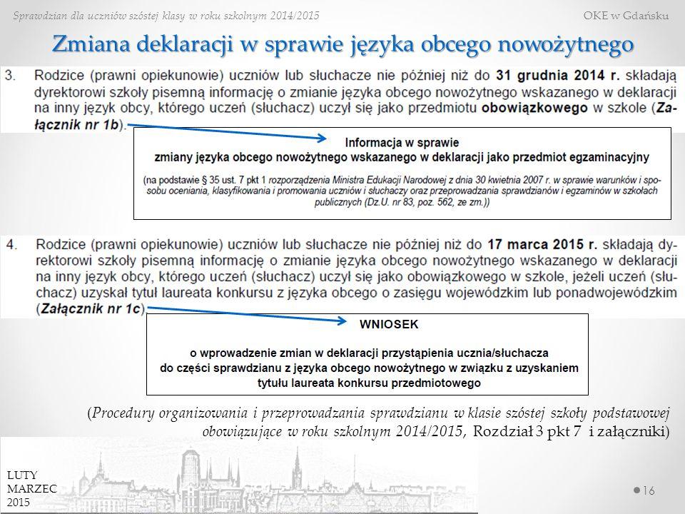 Zmiana deklaracji w sprawie języka obcego nowożytnego