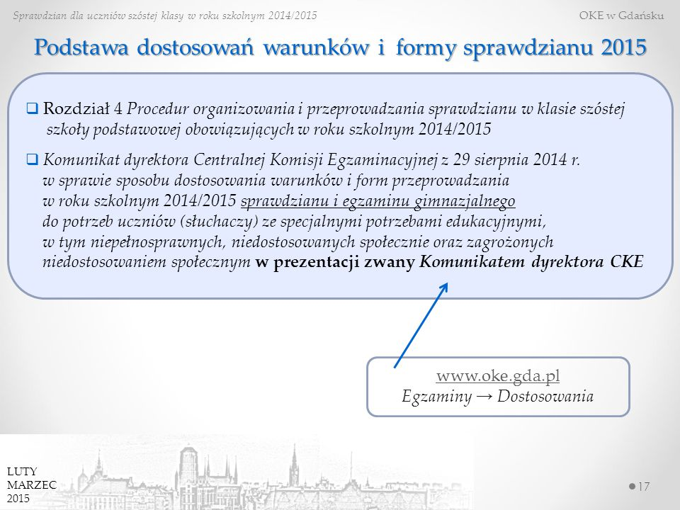 Podstawa dostosowań warunków i formy sprawdzianu 2015