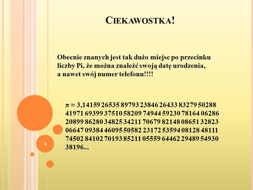 Ciekawostka! Obecnie znanych jest tak dużo miejsc po przecinku liczby Pi, że można znaleźć swoją datę urodzenia, a nawet swój numer telefonu!!!!