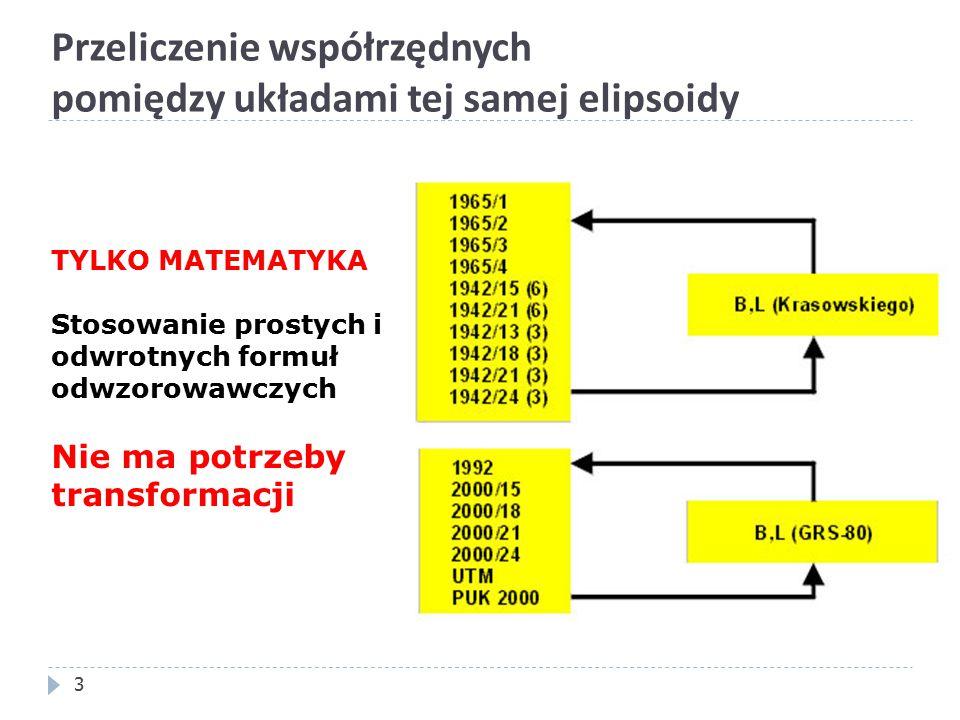 Przeliczenie współrzędnych pomiędzy układami tej samej elipsoidy