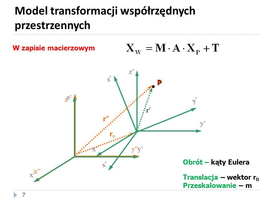 Model transformacji współrzędnych przestrzennych