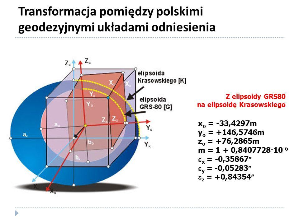 Transformacja pomiędzy polskimi geodezyjnymi układami odniesienia