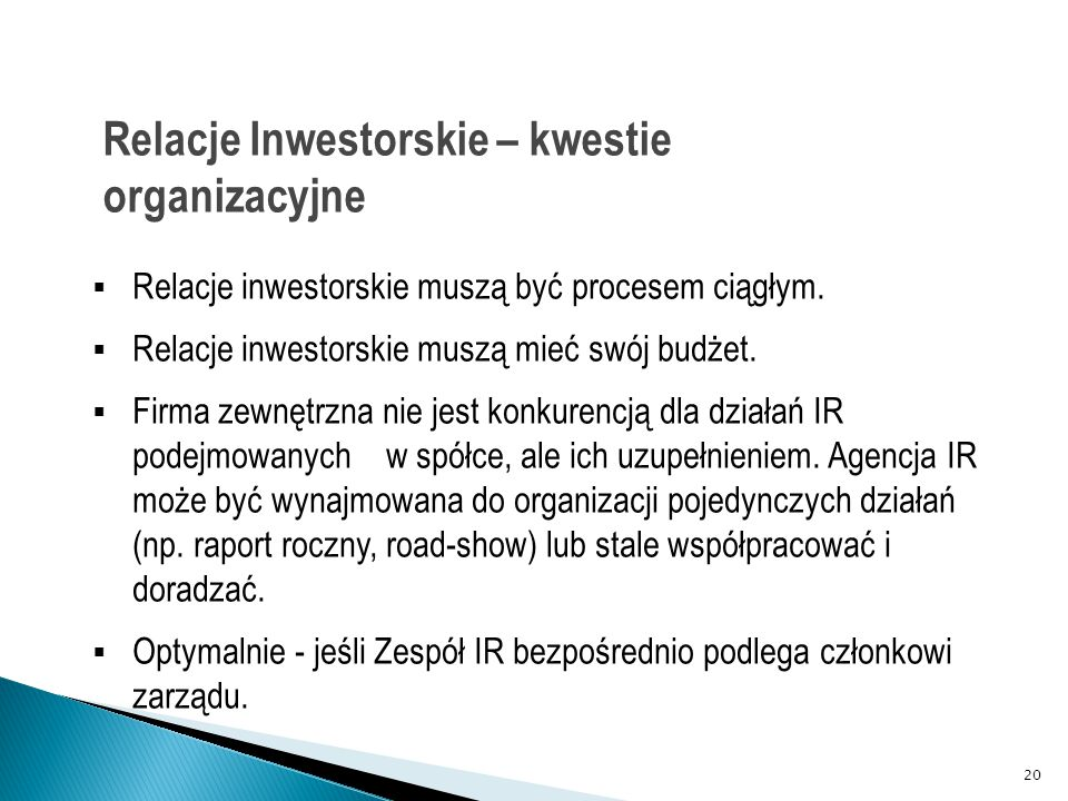 Relacje Inwestorskie – kwestie organizacyjne