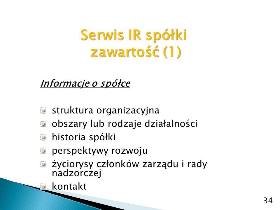 Serwis IR spółki zawartość (1)