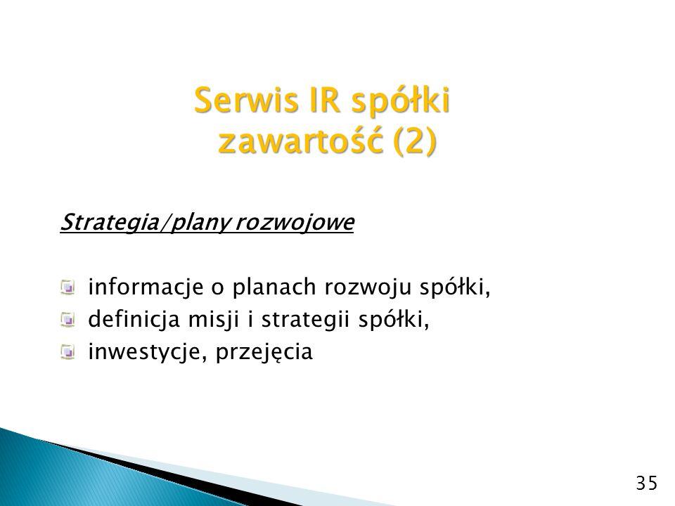 Serwis IR spółki zawartość (2)