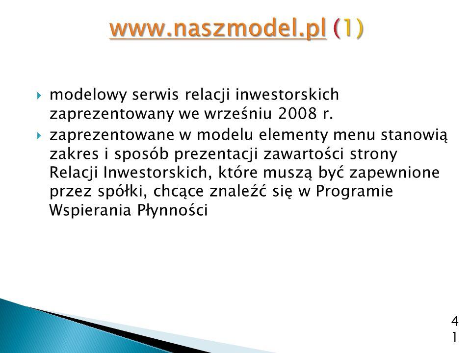 www.naszmodel.pl (1) modelowy serwis relacji inwestorskich zaprezentowany we wrześniu 2008 r.