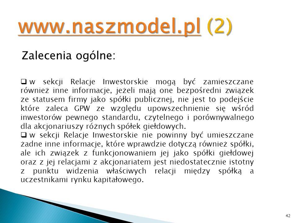 www.naszmodel.pl (2) Zalecenia ogólne: