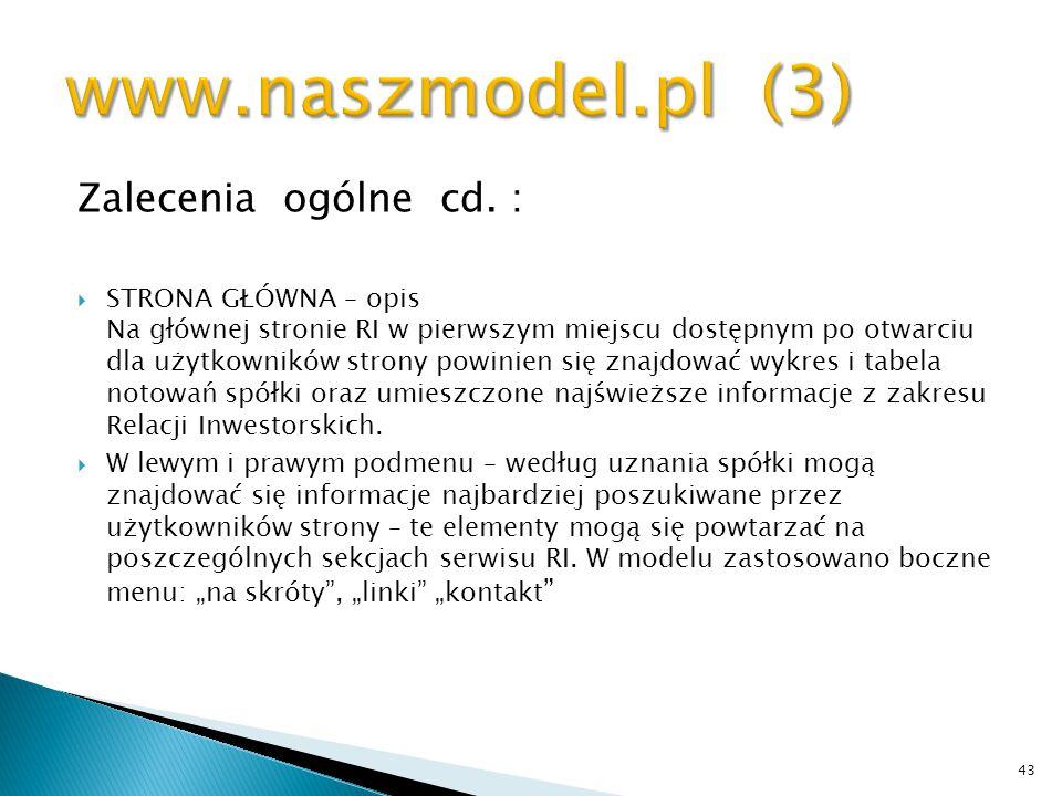 www.naszmodel.pl (3) Zalecenia ogólne cd. :