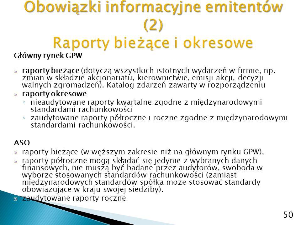 Obowiązki informacyjne emitentów (2) Raporty bieżące i okresowe