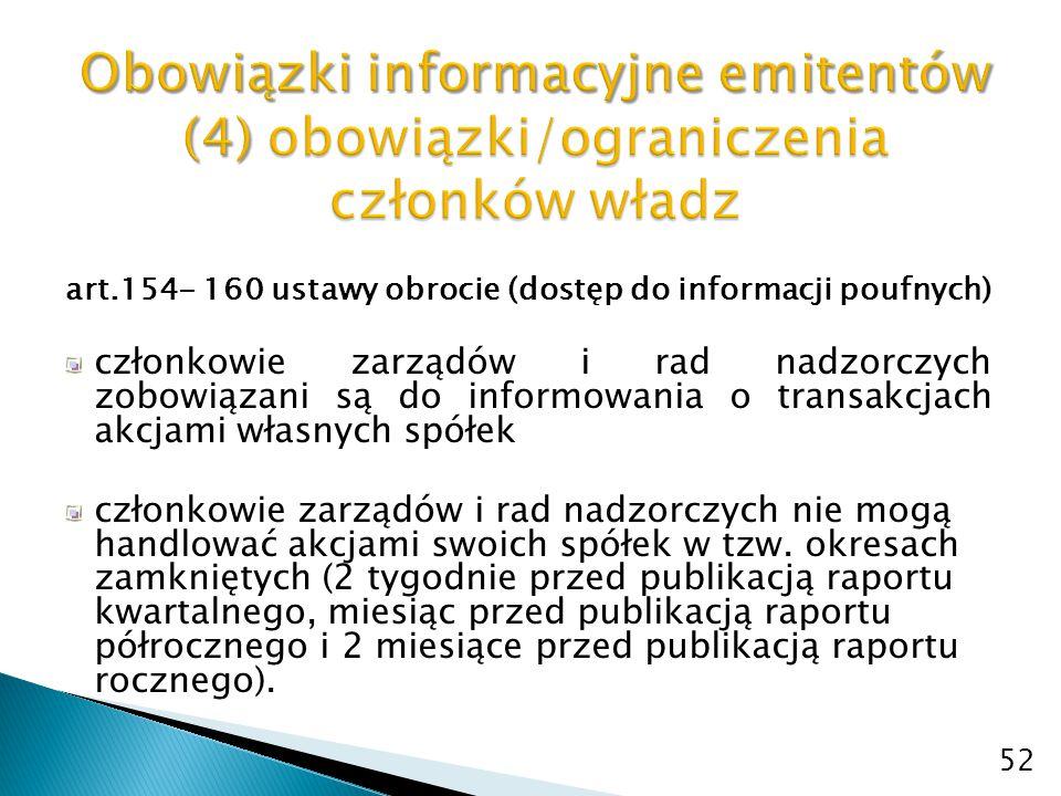 Obowiązki informacyjne emitentów (4) obowiązki/ograniczenia członków władz
