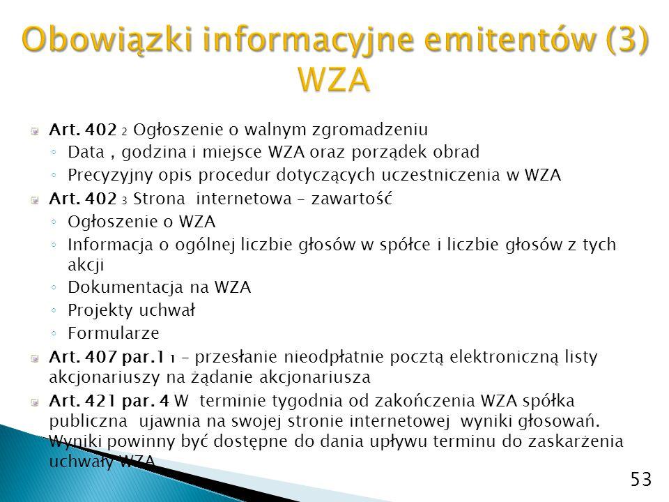 Obowiązki informacyjne emitentów (3) WZA